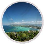 View Of Boracay Island Tropical Coastline In Philippines Round Beach Towel