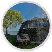 View Of Cerros Maya Ruins At Cerros Round Beach Towel