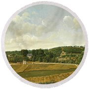 View Of Chatenay Round Beach Towel