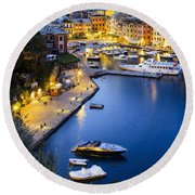 View Of The Harbour At Dusk  Portofino Round Beach Towel