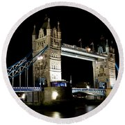 View Of The River Thames And Tower Bridge At Night Round Beach Towel
