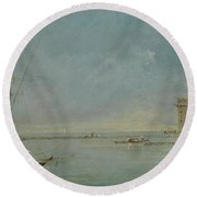 View Of The Venetian Lagoon With The Tower Of Malghera Round Beach Towel