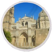 View Of Toledo Cathedral In Sunny Day, Spain. Round Beach Towel