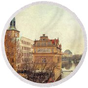 View On A River Round Beach Towel