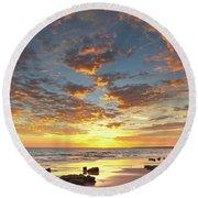 Gale Beach At Sunset. In Algarve Round Beach Towel