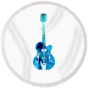 Vintage Guitar 2 - Colorful Abstract Musical Instrument Round Beach Towel