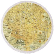 Vintage Map Of Athens Greece - 1894 Round Beach Towel