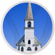 Vintage White Church With Bell  Round Beach Towel