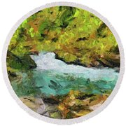 Vintgar Gorge Round Beach Towel