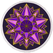Violet Galactic Star Round Beach Towel