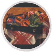Violin Case And Flowers Round Beach Towel