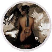 Violin Lady  Round Beach Towel