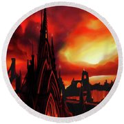 Volcano Castle Round Beach Towel