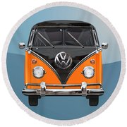 Volkswagen Type 2 - Black And Orange Volkswagen T 1 Samba Bus Over Blue Round Beach Towel by Serge Averbukh