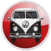 Volkswagen Type 2 - Black And White Volkswagen T 1 Samba Bus On Red  Round Beach Towel