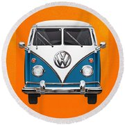 Volkswagen Type 2 - Blue And White Volkswagen T 1 Samba Bus Over Orange Canvas  Round Beach Towel by Serge Averbukh