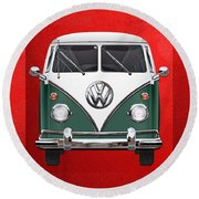 Volkswagen Type 2 - Green And White Volkswagen T 1 Samba Bus Over Red Canvas  Round Beach Towel by Serge Averbukh