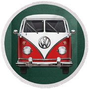 Volkswagen Type 2 - Red And White Volkswagen T 1 Samba Bus Over Green Canvas  Round Beach Towel
