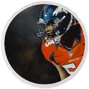 Von Miller Round Beach Towel by Don Medina