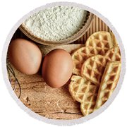 Waffles And Eggs Round Beach Towel