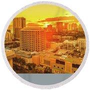 Waikiki City Sunset Round Beach Towel