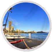 Waikiki Hawaii Round Beach Towel