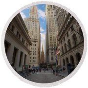 Wall Street Round Beach Towel