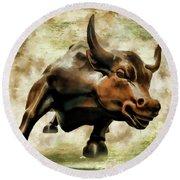 Wall Street Bull Vii Round Beach Towel