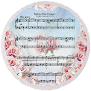 Waltz Of The Flowers Pink Roses Round Beach Towel