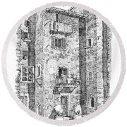Wash Day In Montalcino Italy Round Beach Towel