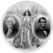 Washington And Lincoln Round Beach Towel