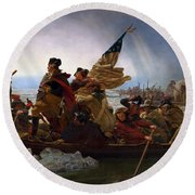 Washington Crossing The Delaware Round Beach Towel by Emanuel Leutze