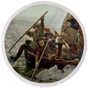 Washington Crossing The Delaware River Round Beach Towel