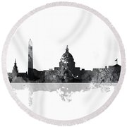 Washington Dc Skyline Round Beach Towel