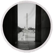 Washington Monument And Capitol Hill Round Beach Towel