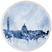 Washington Skyline-blue Round Beach Towel