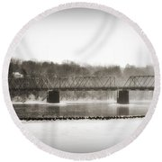 Washingtons Crossing Bridge Round Beach Towel