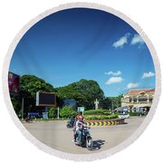 Wat Damnak Roundabout In Central Siem Reap City Cambodia Round Beach Towel