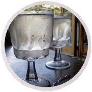 Water Glasses Sweating Round Beach Towel
