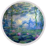 Water Lilies, Nympheas, By Claude Monet,  Musee Marmottan Monet, Round Beach Towel