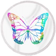 Watercolor Butterfly Round Beach Towel