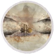 Watercolor Painting Of Beautiful Romantic Image Of Swans On Mist Round Beach Towel
