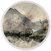 Watercolor Painting Of Stunning Powerful Red Deer Stag Looks Out Round Beach Towel