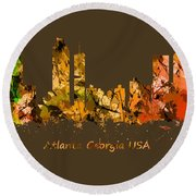 Watercolour Art Print Of The Skyline Of Atlanta Georgia Usa Round Beach Towel
