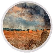 Watercolour Painting Of Beautiful Golden Hour Hay Bales Sunset L Round Beach Towel