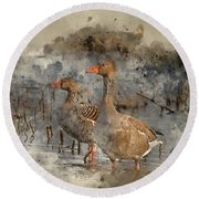 Watercolour Painting Of Beautiful Greylag Goose Anser Anser In W Round Beach Towel