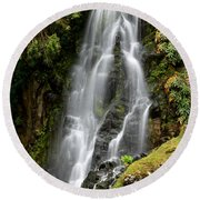Waterfall At Azores Round Beach Towel