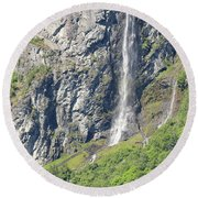 Waterfall In Geiranger Norway Round Beach Towel