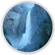 Waterfall In The Mountains Round Beach Towel