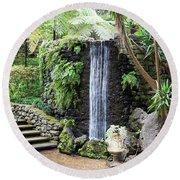 waterfall in tripcal garden Monte Madeira Round Beach Towel
